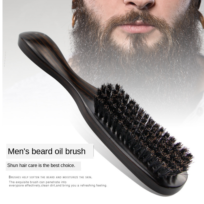 Original Retro Oil Head Brush Wooden Handle Carving Cleaning Brushes Wool Hair Brush Beard Hair Styling Cleaning Tools G0106