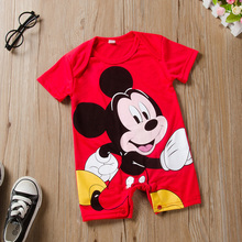 Newborn Mickey Baby Rompers Disney Baby Girl Clothes Boy Clothing Roupas Bebe Infant Jumpsuits Outfits Minnie Kids Christmas cheap COTTON Polyester Animal O-Neck Covered Button Unisex Short Fits true to size take your normal size Cotton Polyester