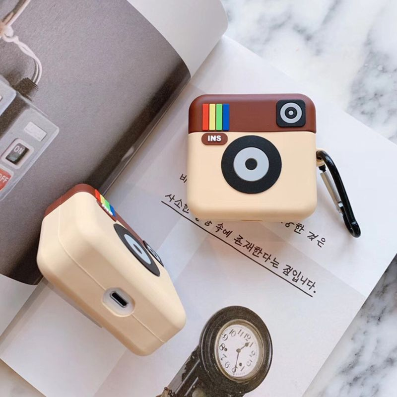 Vintage Camera Pattern Soft Silicone Protective Cover Shockproof Case Skin with Carabiner for Airpods 1/2 Charging Box Accessori image