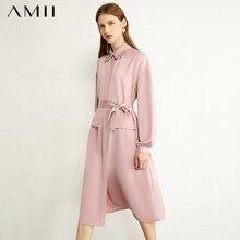 AMII Minimalism Autumn Dresses For Women Fashion Olstyle Lapel Solid Belt Pocket Temperament Satin Dress Women's Dress 12040598
