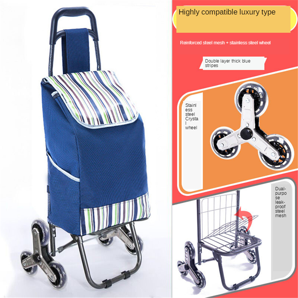 B-LIFE Shopping Cart Stair Climber Cart Grocery Foldable Cart with Extra Large Shopping Bag Laundry Utility Cart