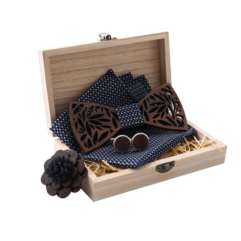 Wooden Bow Tie Handkerchief Set Men's Bowtie Wood Hollow Carved Cut Out Floral Design With Wooden Box For Wedding Party