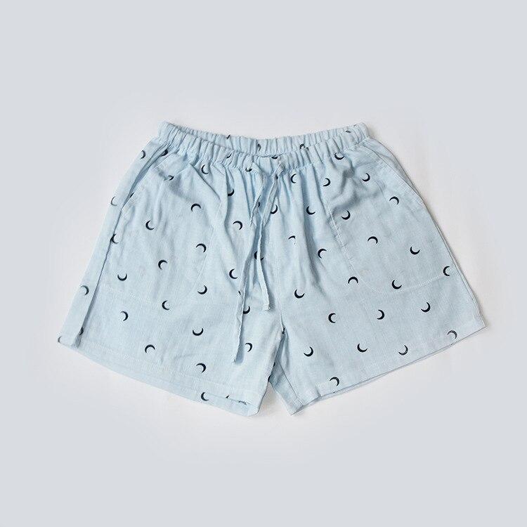 Летние женские Пижамные шорты, хлопковые газовые пижамы, штаны с принтом, штаны для сна, одежда для сна, женская одежда для сна - Цвет: Moon blue