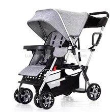 Прогулочная коляска в городском стиле, двойная коляска для маленьких девочек и мальчиков, может лежать устойчивая коляска с каркасом и сумкой