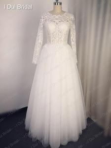 Image 5 - Robe de mariée en dentelle, avec appliques, manches trois quarts, col de lillusion, robe de mariée de bonne qualité, taille personnalisée
