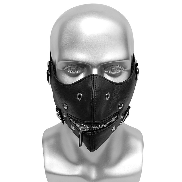 Rivet Steampunk Half Face Mask Gothic Cosplay Dust Protective Masks Unisex Mouth Zipper Open Punk High quality Masks