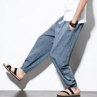 2019 Men's spring summer fall style linen harem pants solid cotton cross-pants loose trousers joggers linen boho sweatpants 5XL