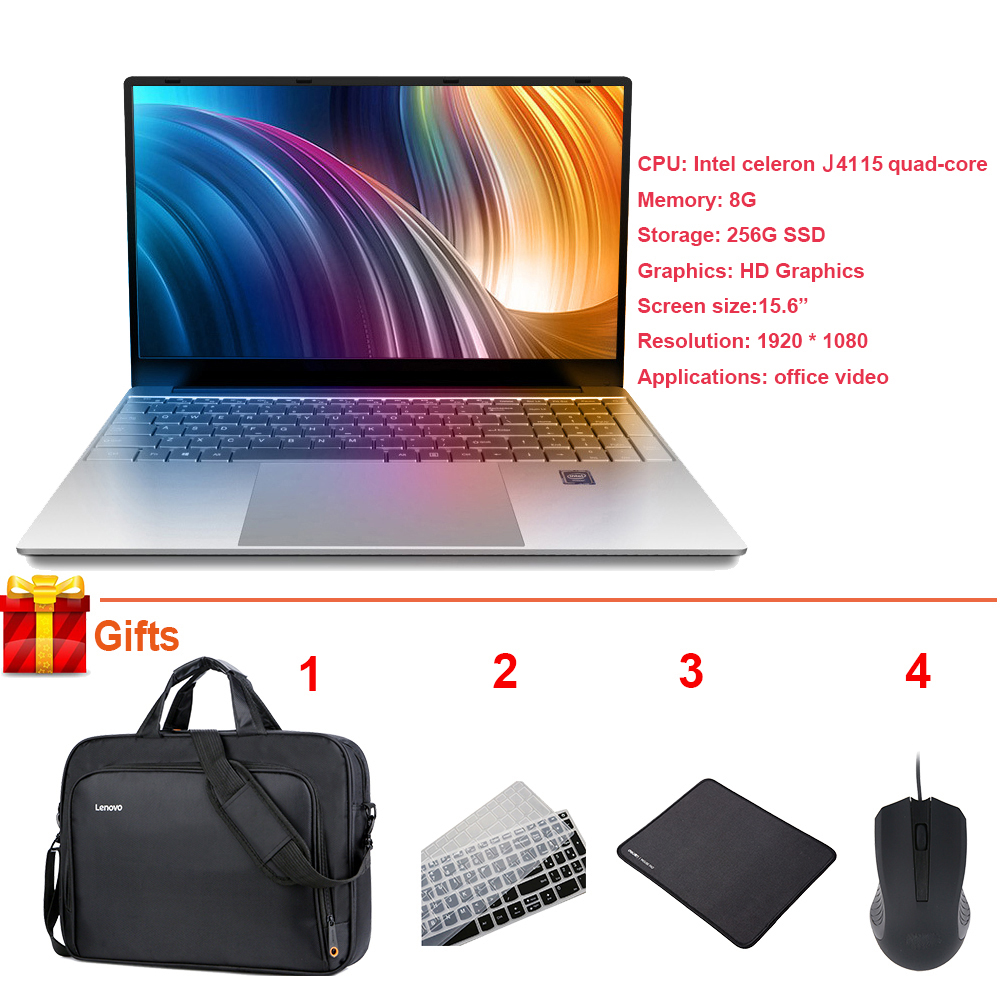 Hot Sale Drop Shipping 15.6 Inch Laptop 8GB 256GB Intel Celeron J4115 Quad Core Window 10 Notebook Study Office