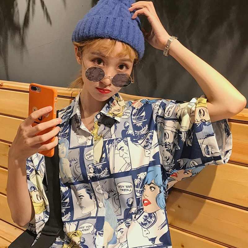 Harajuku 2019 kadın bluz Punk rahat gevşek kısa kollu bluzlar kadın kore tarzı Blusas Mujer De Moda