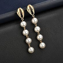 Hello Miss New Ocean Wind Earrings Vacation Shell Pearl Tassel Vintage Stud Womens Holiday Gifts