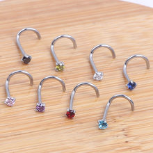 1PC 20G Nostril Piercings CZ Crystal Piercing Nose Stud Stainless Steel Star Nose Rings Nariz Piercing Jewelry