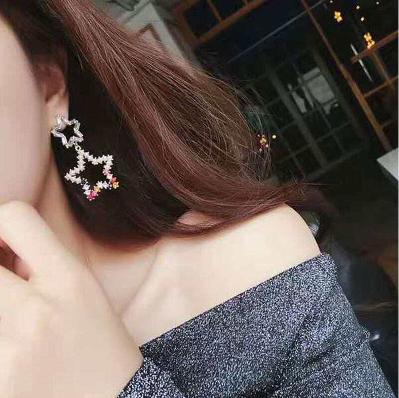 Girls Heart Imitation Pearl Hollow Five-pointed Star Crystal Earrings for Women