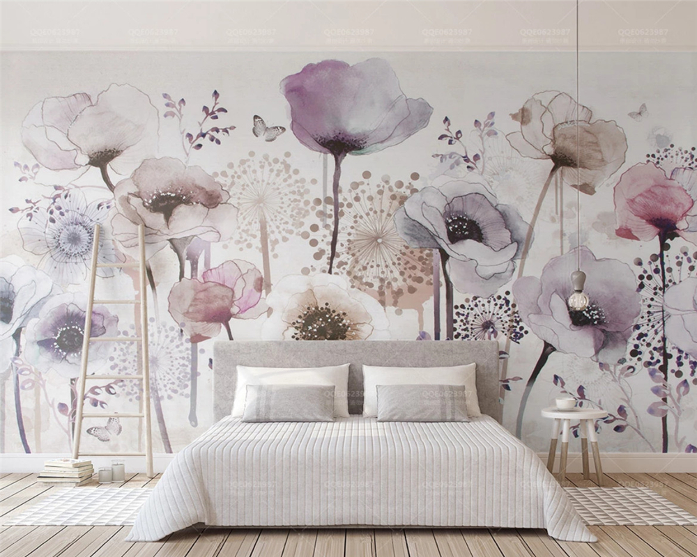 Beibehang Aesthetic Individuality Wallpaper Watercolor Hand Painted Style Lilac Floral TV Background Papel De Parede Wall Paper