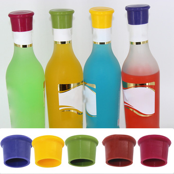 5Pcs Silicone Bottle Caps Beer Beverage Cover Coke Soda Leak Free Champagne Closures Fresh Saver Stopper Kitchen Bar Accessories image