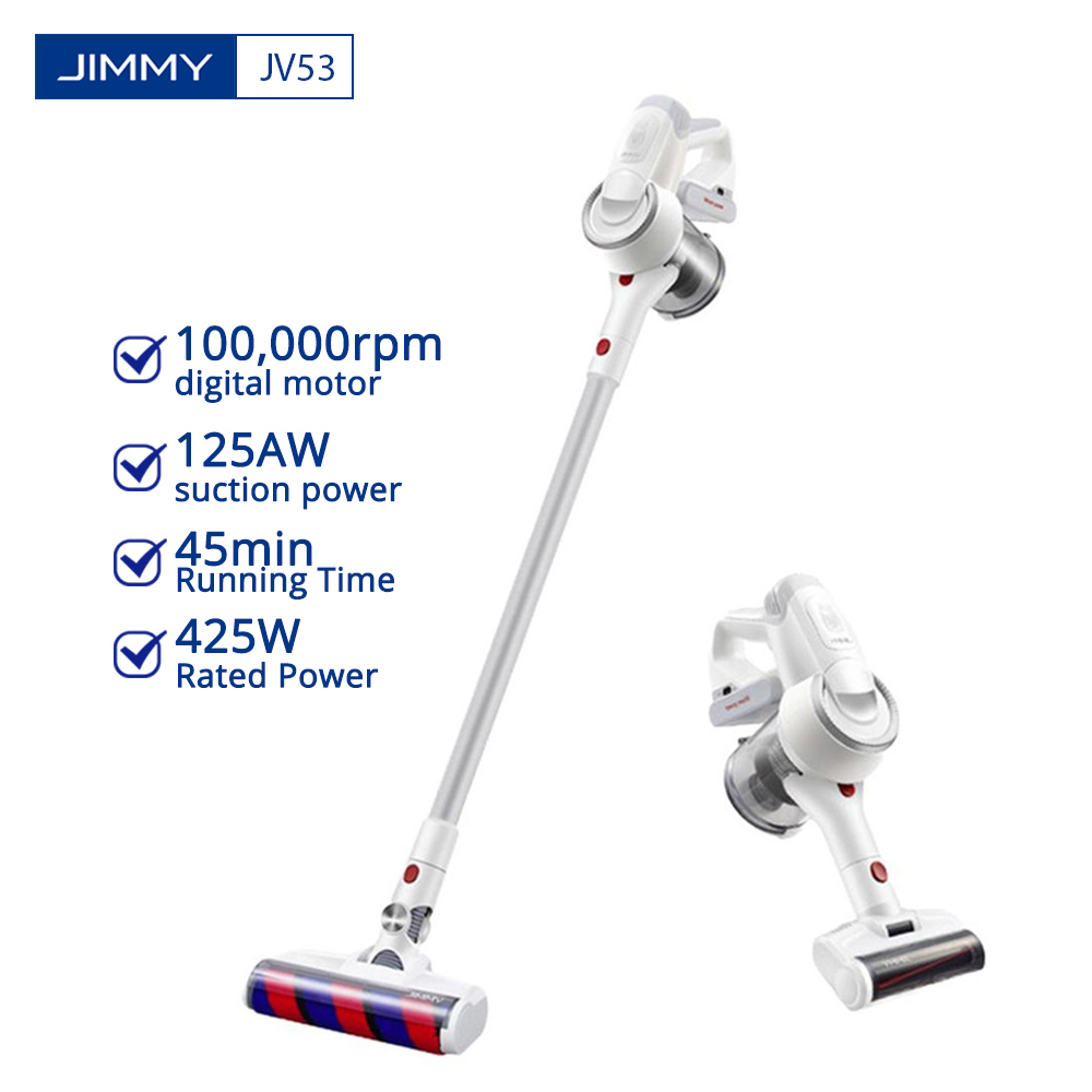 Handheld Cordless Vacuum Cleaner JIMMY JV53 Wireless Dust Vacuum Collector Sweep Cleaners 125AW 20kPa Effective Suction Power