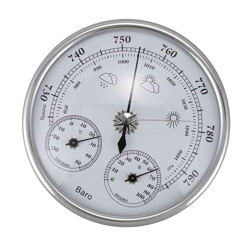 Wall Mounted Household Thermometer Hygrometer High Accuracy Pressure Gauge Air Weather Instrument Barometer Pressure Gauges     - title=
