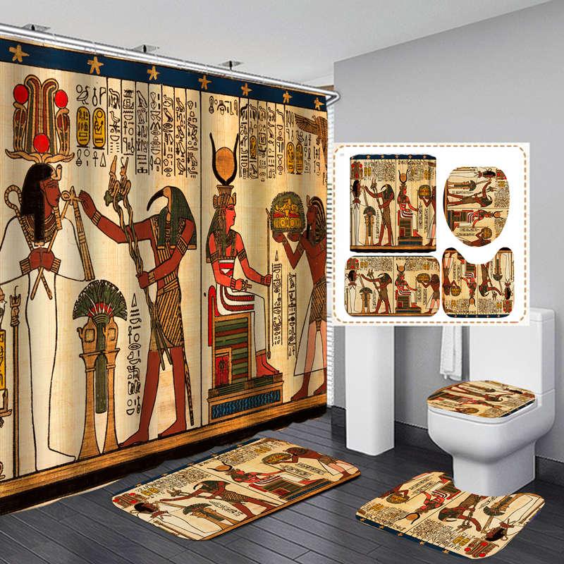 Arte egípcia poliéster tecido cortina de chuveiro antiderrapante tapete de banho toalete tapetes decoração do banheiro conjunto