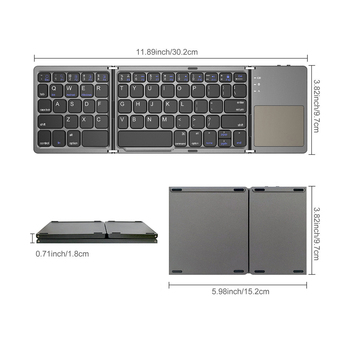 AVATTO Russian/Spanish/Arabic B033 Mini Folding keyboard, Wireless Bluetooth Keyboard with Touchpad for Windows, Android, IOS 6