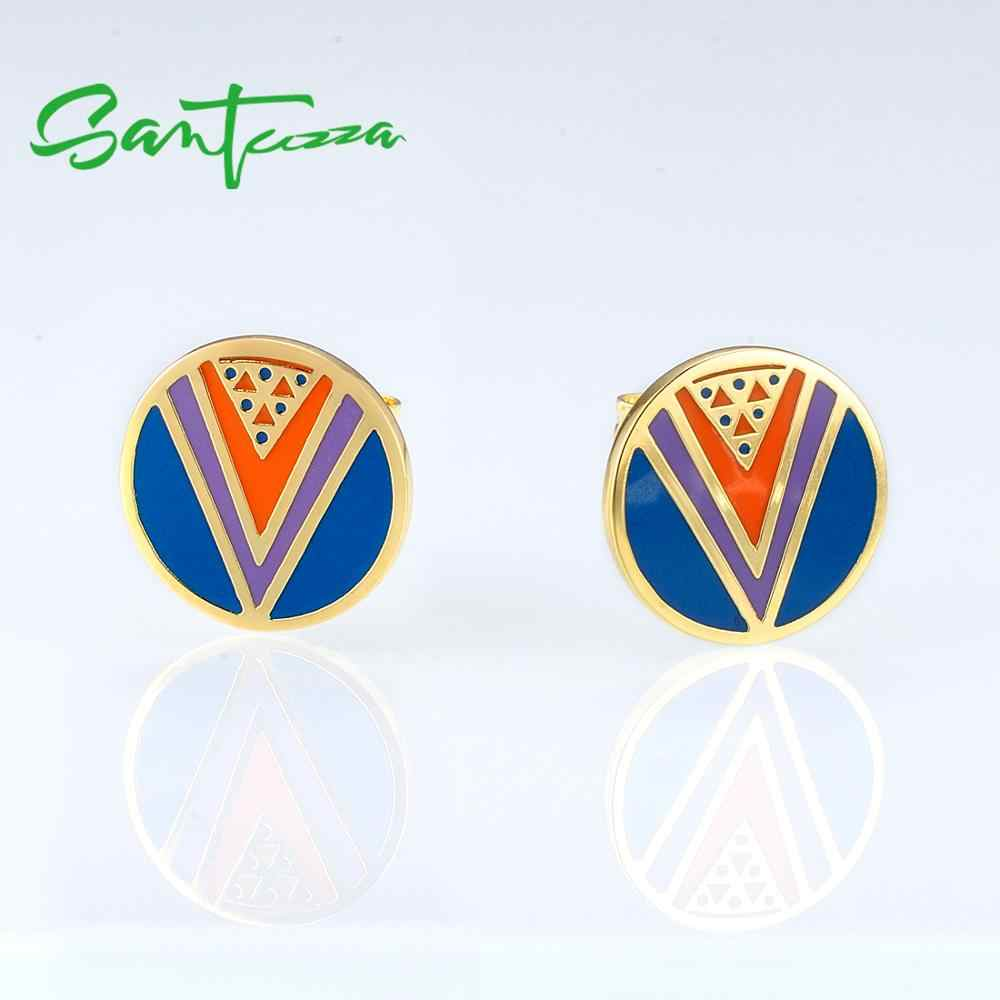 Boucles d'oreilles en laiton SANTUZZA pour femmes couleur or jaune charmante mode à la main boucles d'oreilles en émail coloré fête bijoux de mode