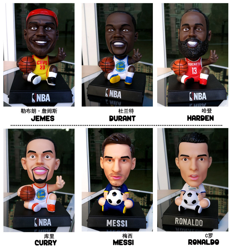 12cm Football Stars BasketbaStars PVC Action Figure C Ronaldo JUV 7 Messi James Bobble Head Dolls Model Toys Car Decoration Gift