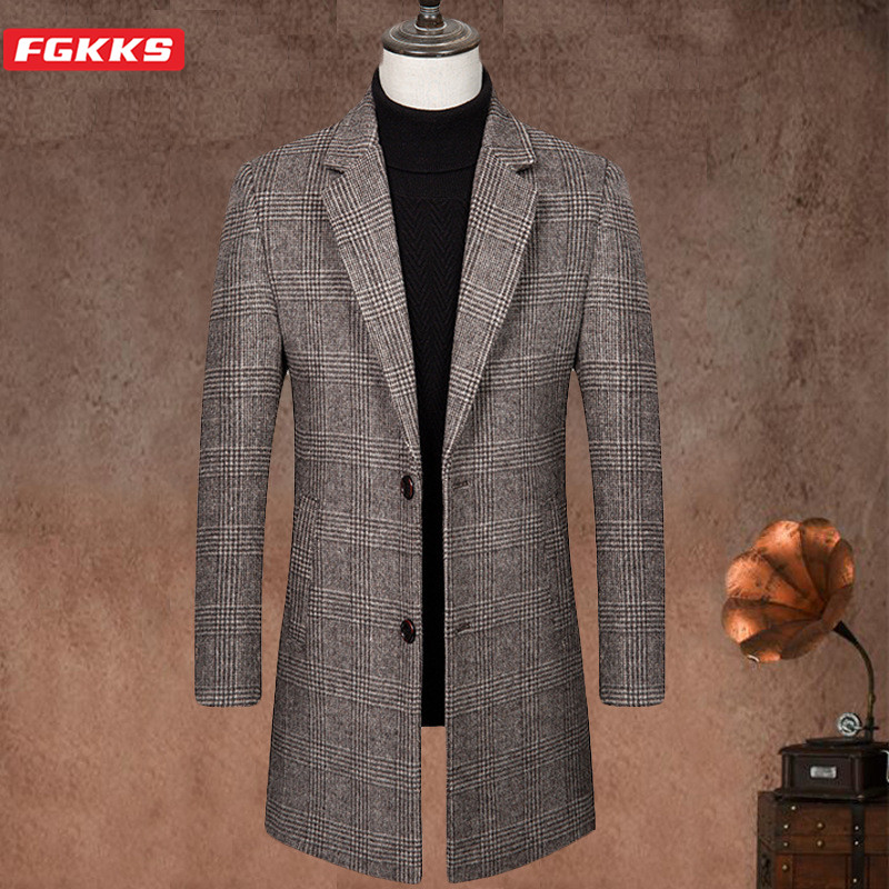 FGKKS New Wool Blend Coat Men Brand Men's Casual Thick Warm Long Section Overcoat Winter Slim Plaid Wool Coats Male