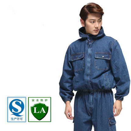 Electric Welding Labor Protection Suit For Men's Long Sleeve Auto Repair Overalls Dust-proof Suit