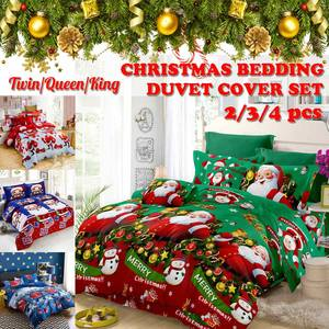 Cover-Set Quilt Bed-Linens-Set Duvet King Queen 3D Christmas Santa-Claus Twin-Size Printed