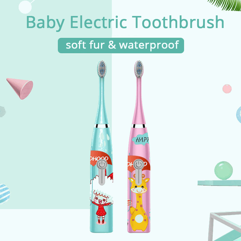 Baby Electric Toothbrush Cartoon Pattern Double-sided Waterproof Tooth Brush Oral Cleaning for Kids image