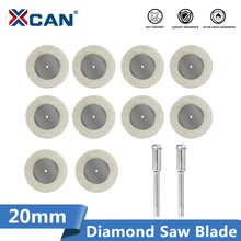 XCAN Diamond Cutting Disc 10pcs 20mm Mini Rotary Tool  Blades with 2pcs 3mm Shank for Cutting Glass Stone Diamond Saw Blade