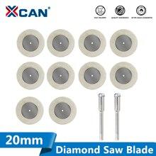 XCAN cuchillas de herramienta rotativa Mini, Disco de corte de diamante, 10 Uds., 20mm, con vástago de 2 uds. Y 3mm para cortar vidrio, piedra, hoja de sierra de diamante