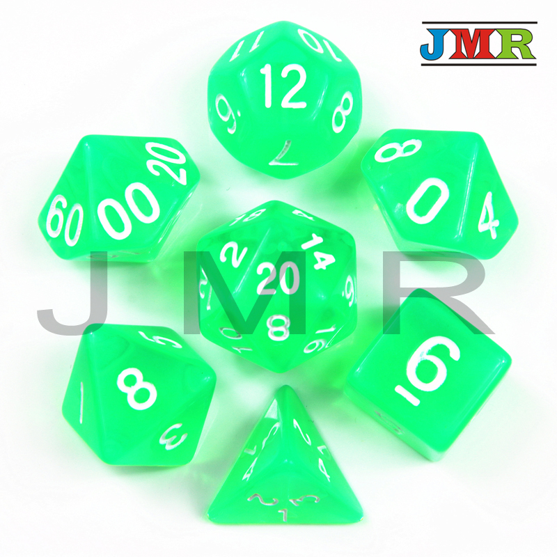 Jelly Effect 7pc <font><b>Green</b></font> Color Game <font><b>Dice</b></font>,<font><b>Green</b></font> color D&d D4,<font><b>d6</b></font>,d8,d10,d12,d20 Portable <font><b>Dice</b></font>,For Rpg Dnd Desktop game image