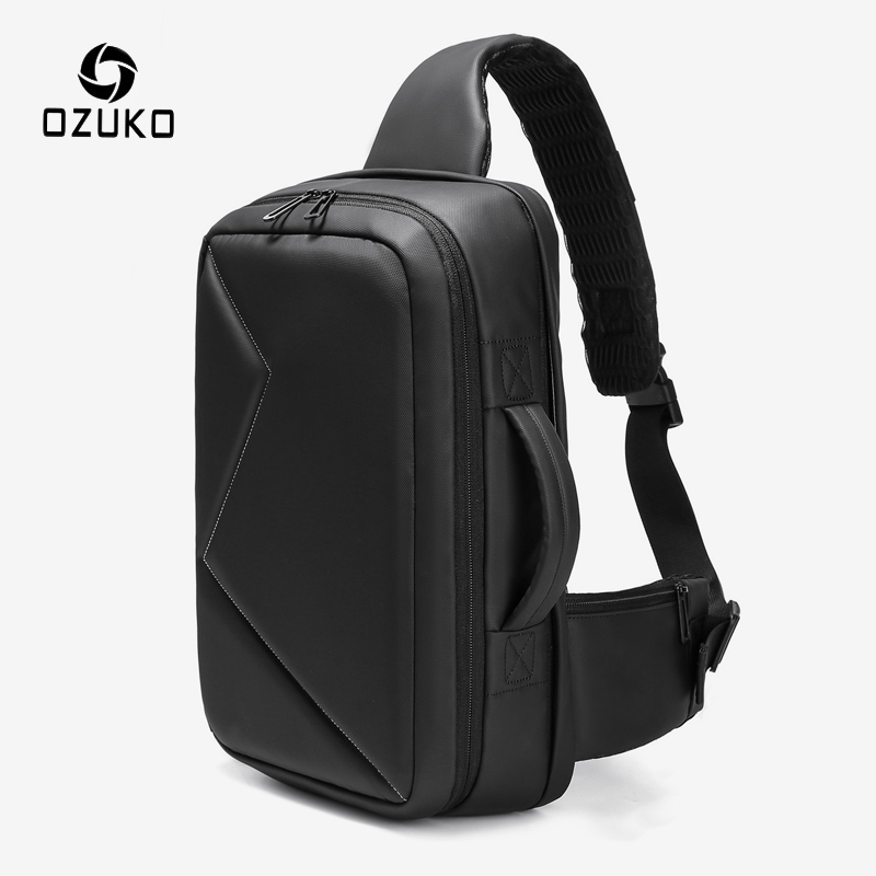 OZUKO Men 12.5 Inch IPad Large Capacity Crossbody Bag Waterproof Messenger Shoulder Bag Chest Pack Business Sling Bags For Male