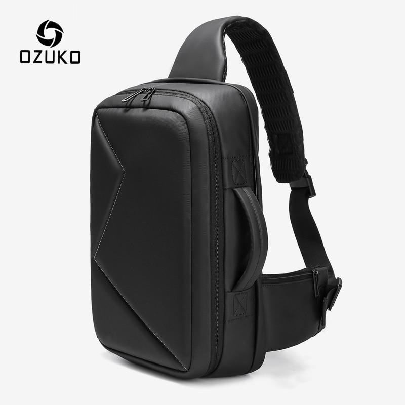 OZUKO Men 12.5 Inch IPad Large Capacity Crossbody Bag Waterproof Messenger Shoulder Bag Chest Pack Business Sling Bags For Male
