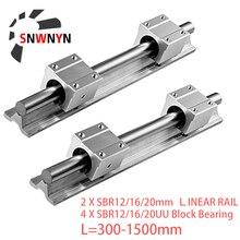 цена на 2pcs Linear Rail SBR12 SBR16 SBR20 300 400 500 600 800 1000 1200 1500mm Linear Guide+4pcs SBR12UU SBR16UU SBR20UU Blocks For CNC