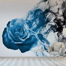 Milofi custom wallpaper mural blue abstract rose smoke line