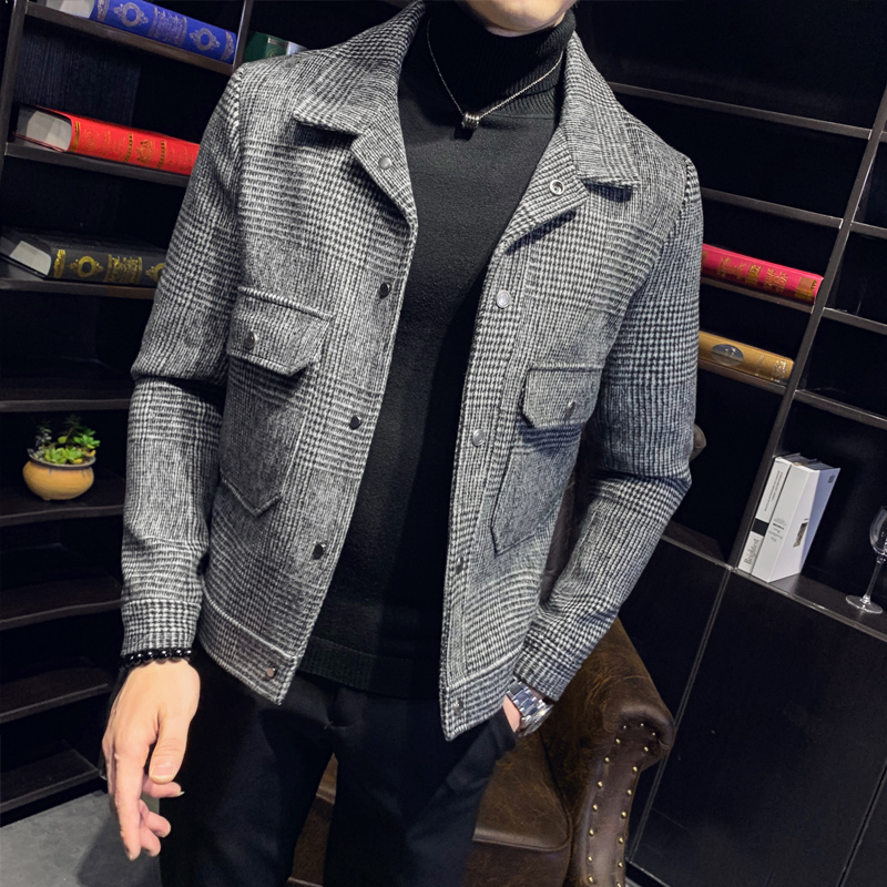 2019 Winter Warm Wool Coat Korean Slim Fit Mens Jackets and Coats Short Section Windbreaker Classic Plaid Casaco Masculino