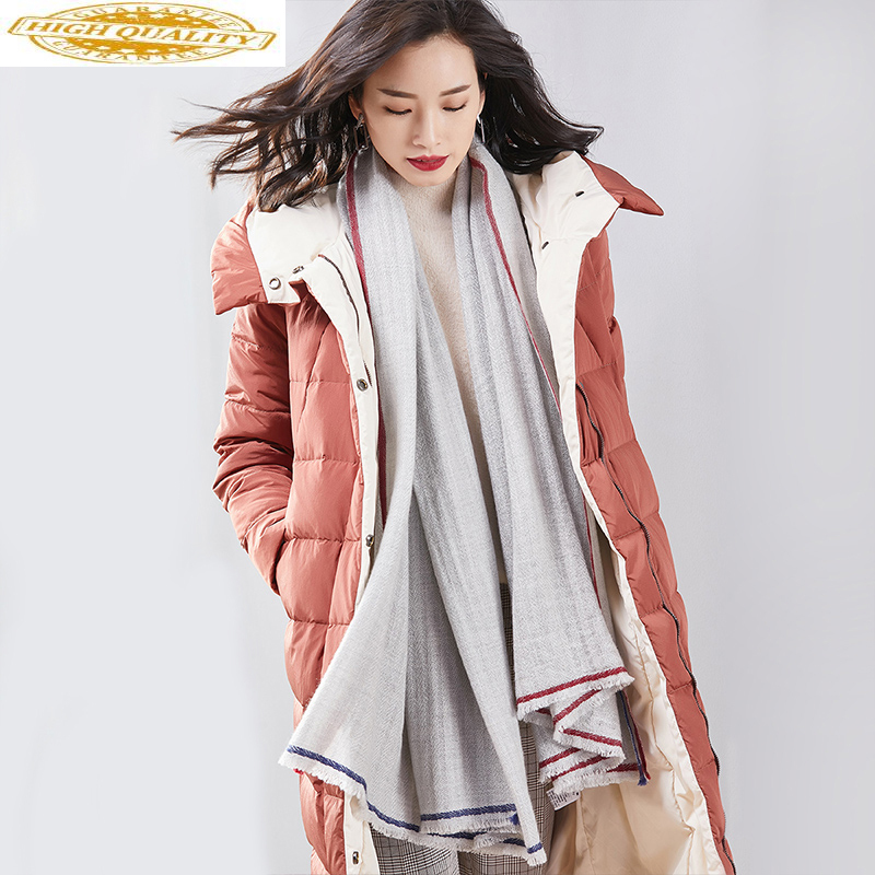 Women's Down Jacket Hooded Autumn Winter Long White Duck Down Coat Female Puffer Jacket 2020 Doudoune Femme Hiver KJ3525