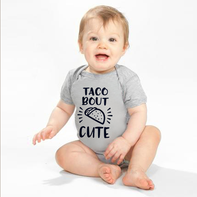 Newborn Baby Girls Bodysuit Short-Sleeve Onesie Taco Print Rompers Winter Pajamas