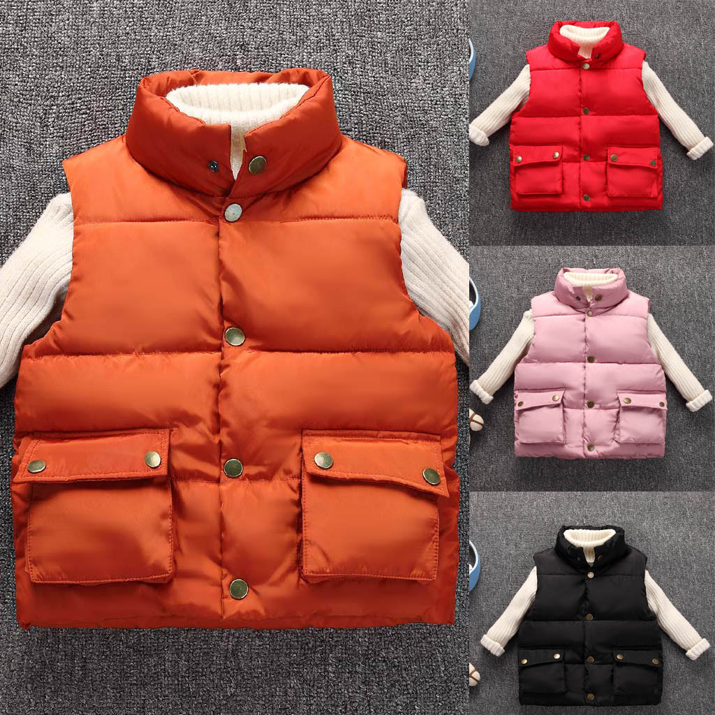 2019 Fashion Kids Coat Boys Girls Thick Coat Padded Winter Jackets Clothes Boys and girls solid color pocket thick warm vest