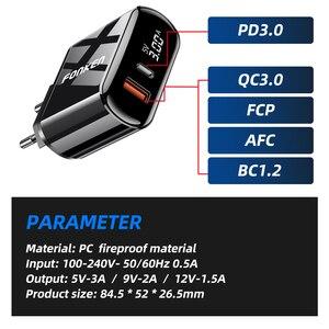 Image 4 - FONKEN cargador rápido 3,0 PD, 2 puertos de carga rápida para cargador de teléfono, puerto USB tipo C, adaptador de pared, pantalla LED, cargadores de tablero