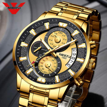NIBOSI Fashion Men Chronograph Watch 2020 Luxury Male Stainless Sports Military Wristwatch Waterproof Relogio Masculino - discount item  83% OFF Men's Watches