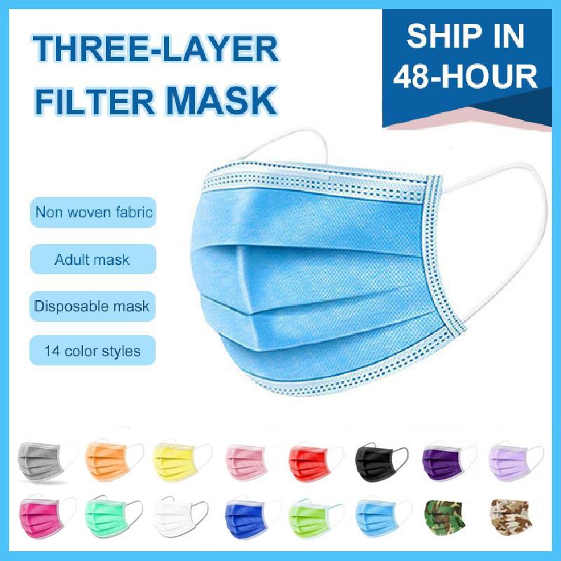 100 шт одноразовая маска для лица 3 слоя фильтра нетканый анти пылезащитный дышащий Черный Синий Розовый Фиолетовый многоцветный маска для рта для взрослых Маски      АлиЭкспресс