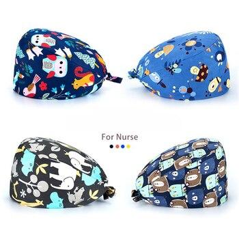 где купить Adjustable Unisex Cotton Scrub Cap With Sweatband Print Nurse Cap Gorro quirúrgico Mujer Doctor Hat Surgicals Hat дешево