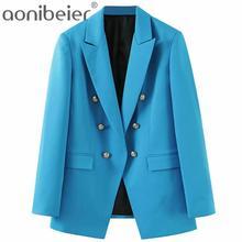 Aonibeier-Chaqueta de oficina para mujer, traje con cuello con muescas, doble botonadura, bolsillos de solapa, abrigos informales para mujer, azul, 2021