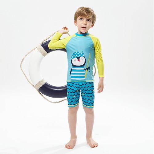KID'S Swimwear 2019 New Style Men And Women Children Cute Cartoon Long Sleeve Split Type Boxers Tour Bathing Suit