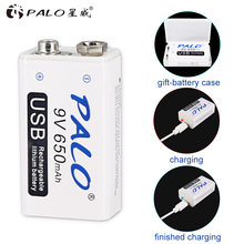 Аккумуляторная батарея palo 6f22 650 мАч 9 В литий ионная с