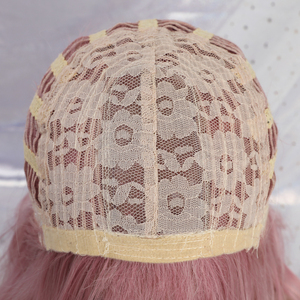 Image 5 - ALAN EATON  Cute Lolita Pink Curly Medium Anime Lady Sweet Bangs Highlight Synthetic Hair Cosplay Wigs Heat Resistant Daily Wigs