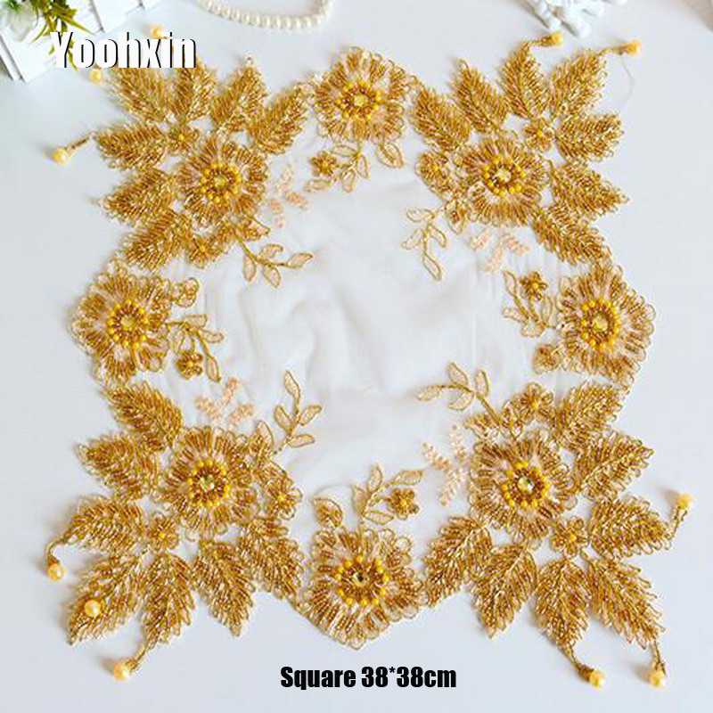 Big Offer 7a33 Luxury Lace Gold Beads Embroidery Place Table
