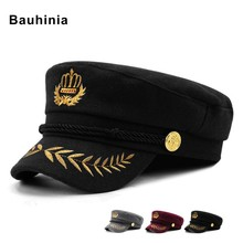 Bauhinia brand men's and women's fall/winter casual navy hat warm woolen captain cap full-sealed sunshade embroidery cap