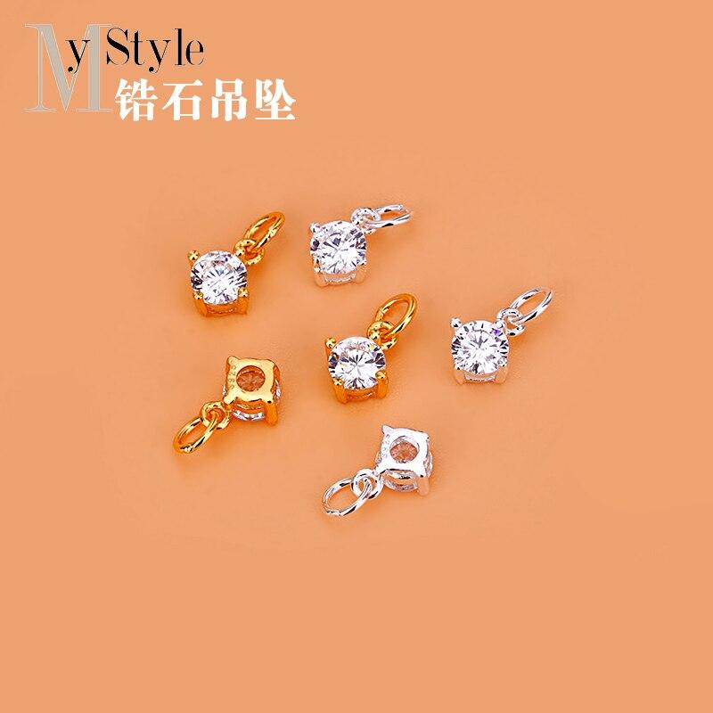 S925 Sterling Silver Zircon Accessories Sterling Silver Small Diamond Pendant Handmade Beaded Material Bracelet Pendant Accessor